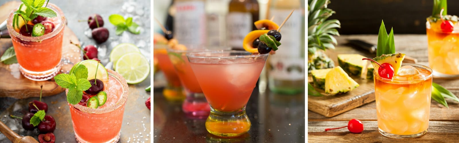 Three colorful rum drinks at Naples Reserve