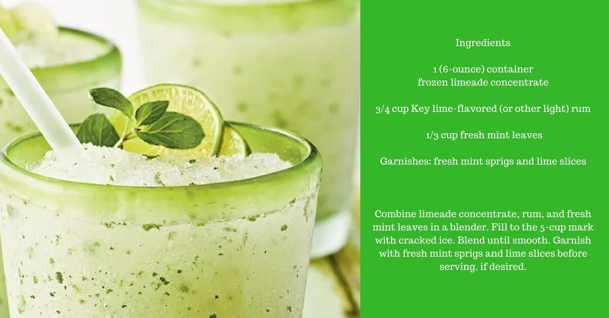 Frozen Lime Mojito in glass with garnish to enjoy at Naples Reserve