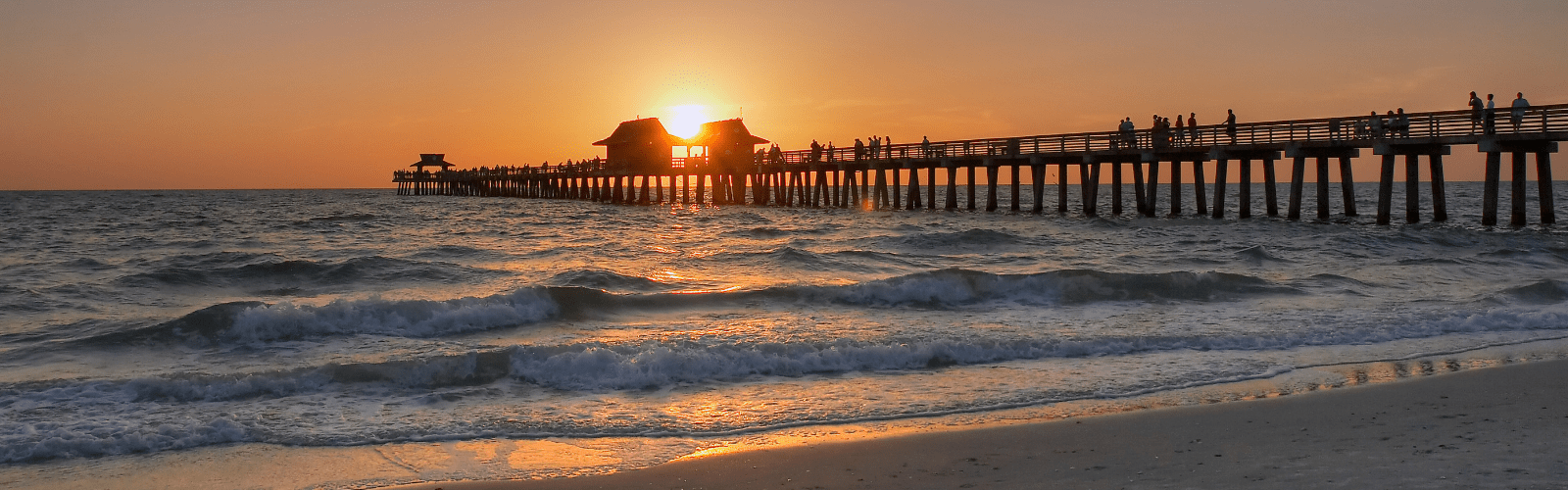 Sunset image over the Naples Pier in Naples Florida